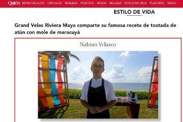 Grand Velas Riviera Maya comparte su famosa receta de tostada de atún con mole de maracuyá